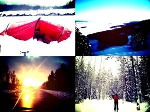 Vasemmalla ylhäällä lumeen hautautunut Nallo-teltta muutamaa tuntia ennen starttia. Oikealla kuva Kolin laskettelurinteiden yläasemalta. Vasemmalla alhaalla kevään ensimmäiset auringonsäteet paistavat tuulilasiin. Oikealla alhaalla kuva Ahmanhiihdon reitin varrelta.